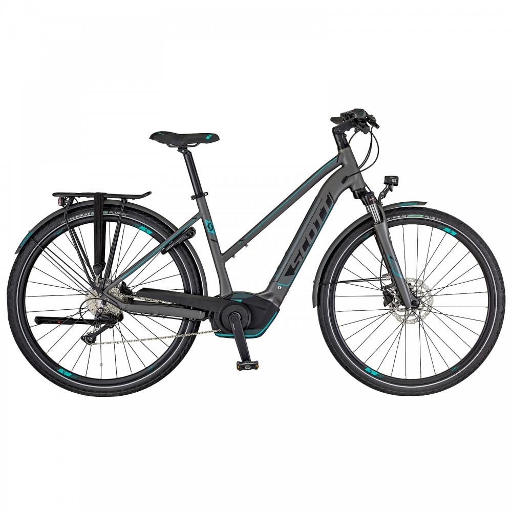 scott e sub sport 20 damen trekking pedelec e bike fahrrad grau schwarz orange 2018 von top. Black Bedroom Furniture Sets. Home Design Ideas