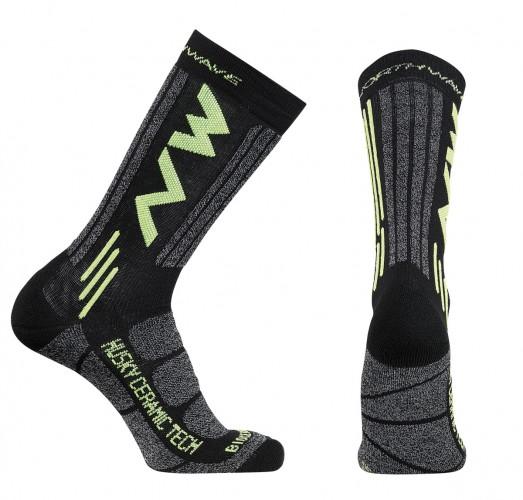 Northwave Husky Ceramic 2 Winter Fahrrad Socken schwarz/gelb 2018