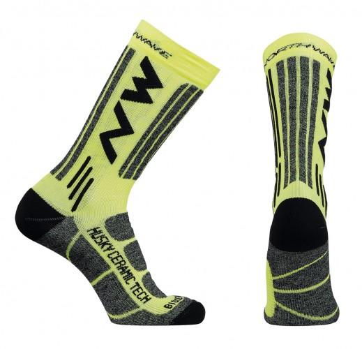 Northwave Husky Ceramic 2 Winter Fahrrad Socken gelb/schwarz 2018