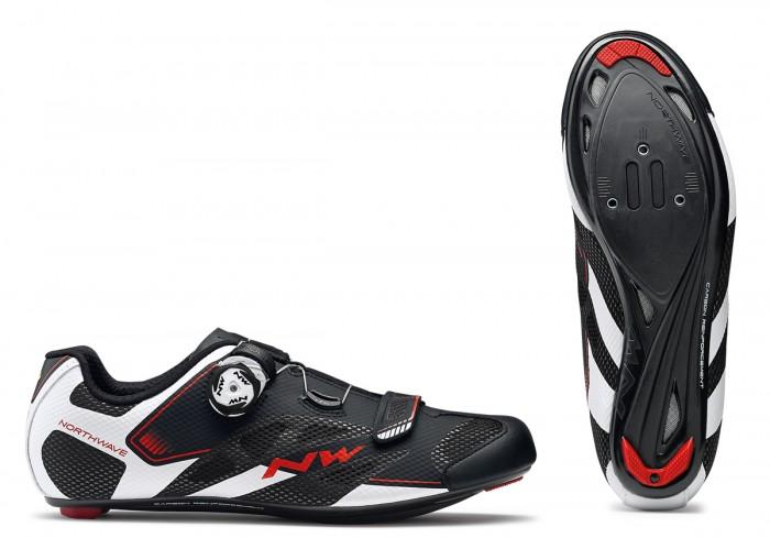 Northwave Sonic 2 Plus Wide Rennrad Fahrrad Schuhe schwarz/weiß/rot 2018