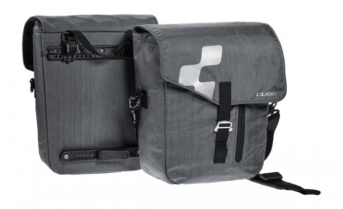 Cube City Fahrrad Gepäckträger Taschen Set grau
