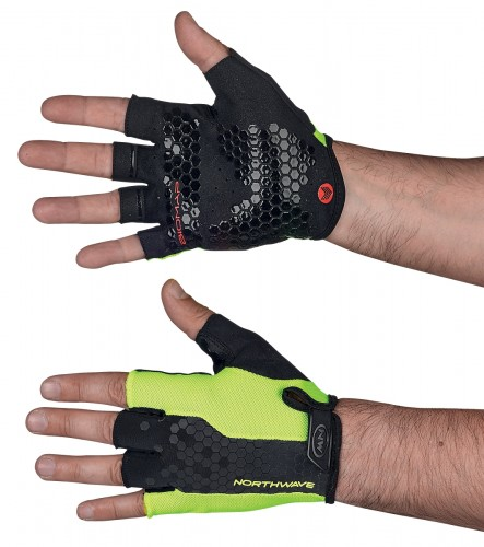 Northwave Grip Fahrrad Handschuhe kurz gelb/schwarz 2019