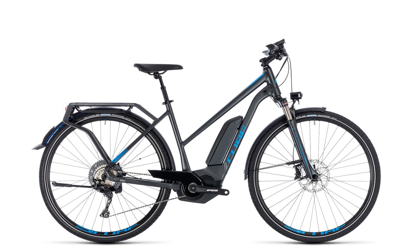 cube kathmandu hybrid exc 500 damen trekking pedelec e bike fahrrad grau blau 2018 von top. Black Bedroom Furniture Sets. Home Design Ideas