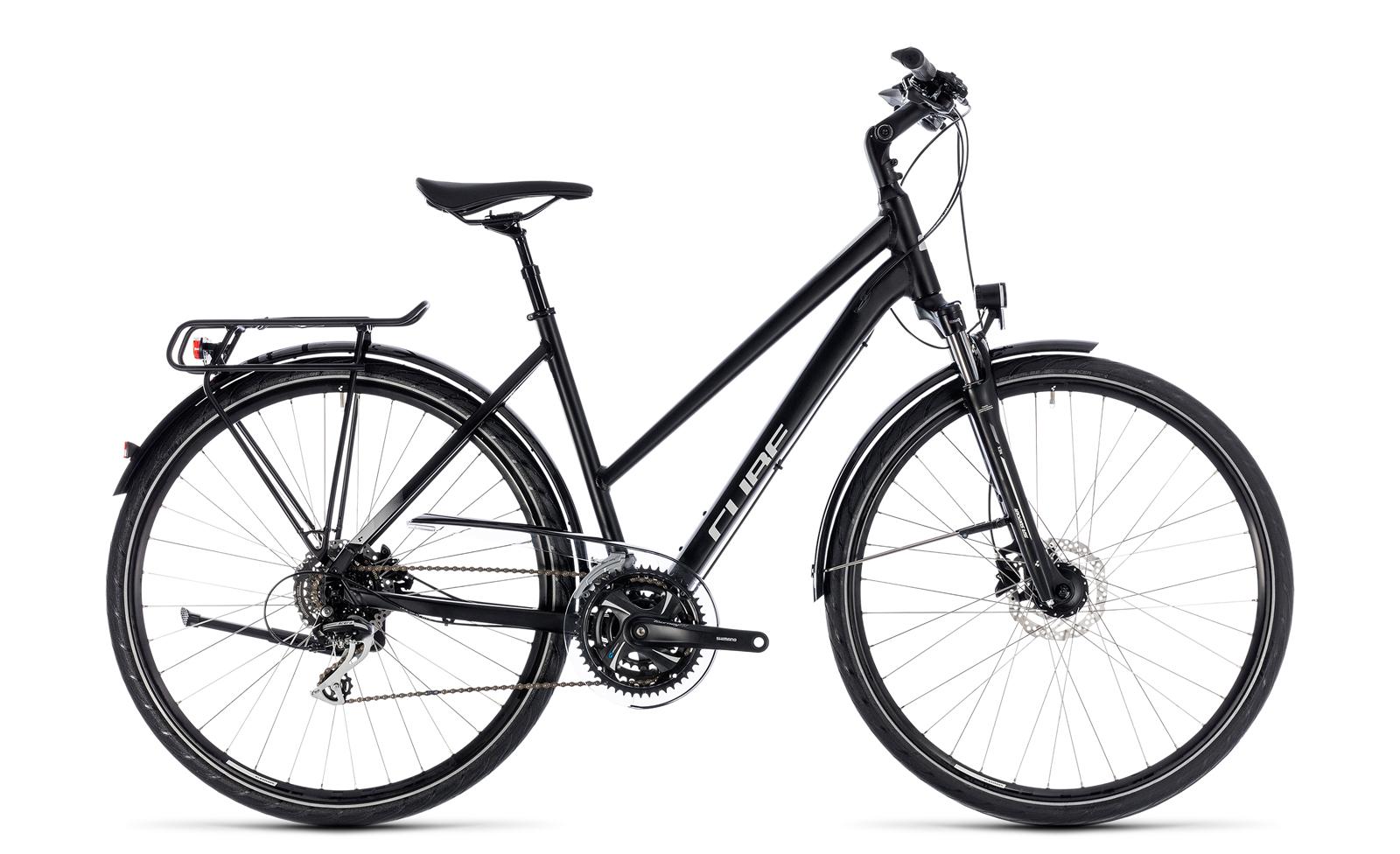 cube touring one damen trekking fahrrad schwarz grau 2018. Black Bedroom Furniture Sets. Home Design Ideas
